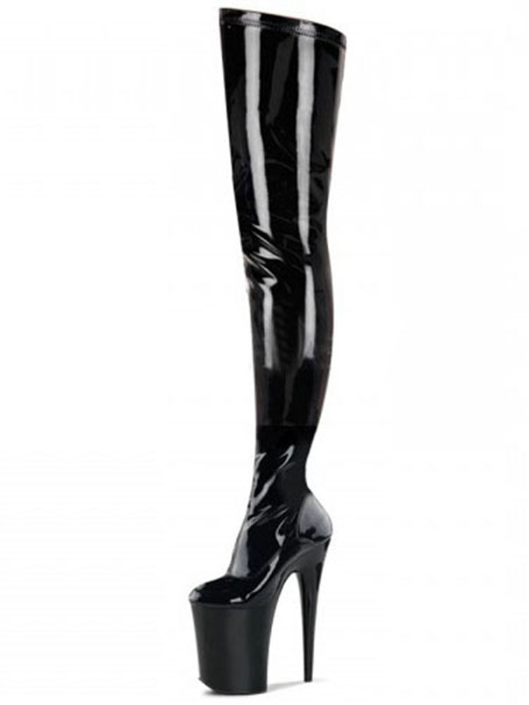 Over The Knee Boots Sexy Black Platform High Heel Round Toe Thigh High Boots For Women