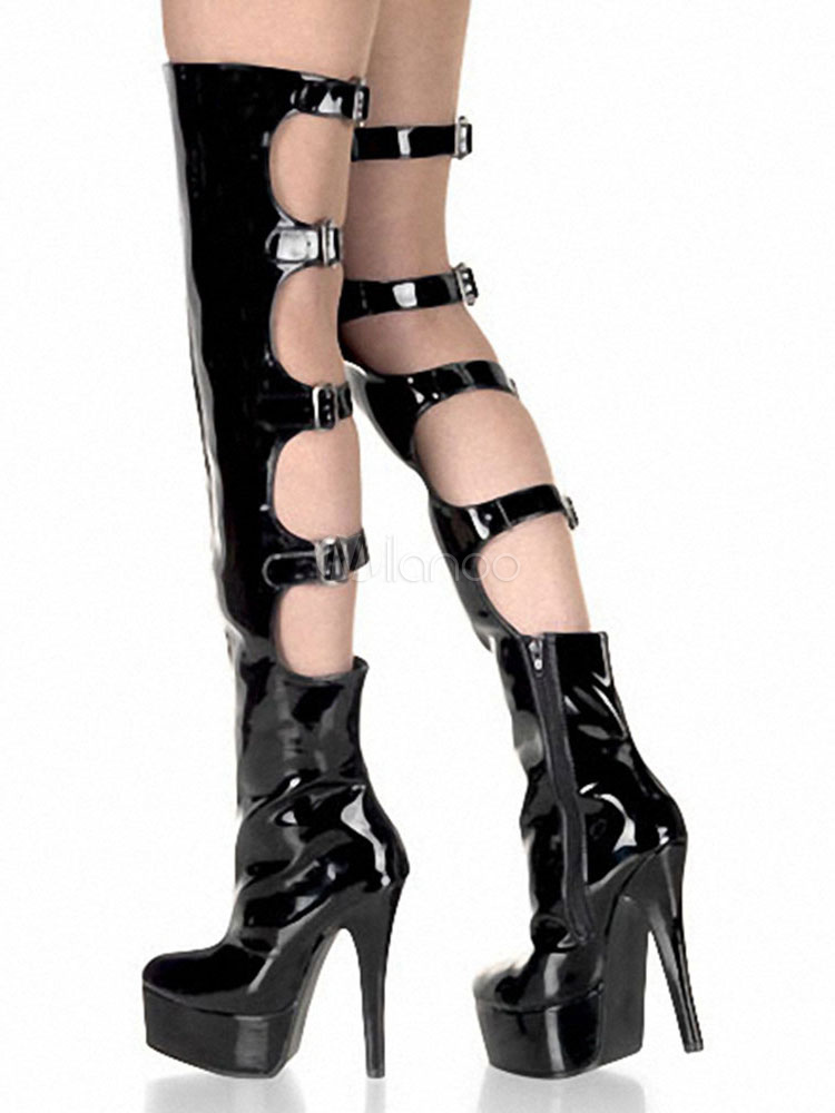 Over The Knee Boots Black Sexy Platform High Heel Round Toe Cut Out Buckled Women's Thigh High Boots