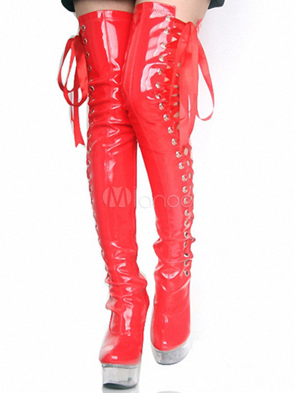 Over The Knee Boots Sexy High Heel Lace Up Round Toe Stiletto Red Thigh High Boots For Women