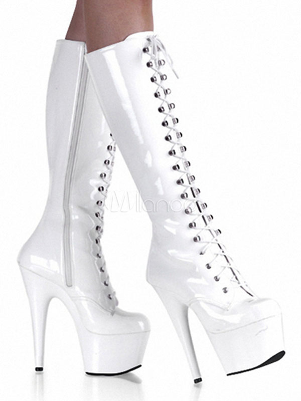 Buy White Sexy Boots High Heel Platform Stiletto Round Toe Lace Up Light Patent Leather Mid Calf Boots For Women for $104.99 in Milanoo store