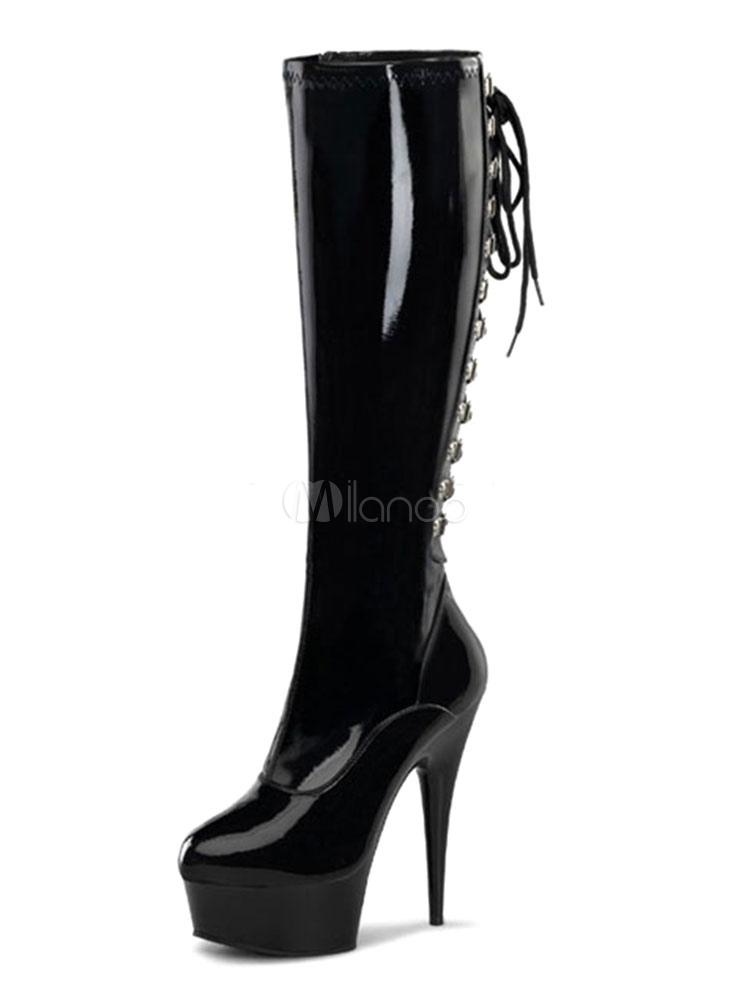 Botas de puntera redonda de tacón de stiletto de cuero sintético negras Color liso estilo moderno JEDq3Hf