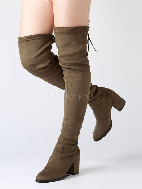 1d360639fd2f Over The Knee Boots Chunky Heel Round Toe Suede Slip On Atrovirens Thigh  High Boots For ...