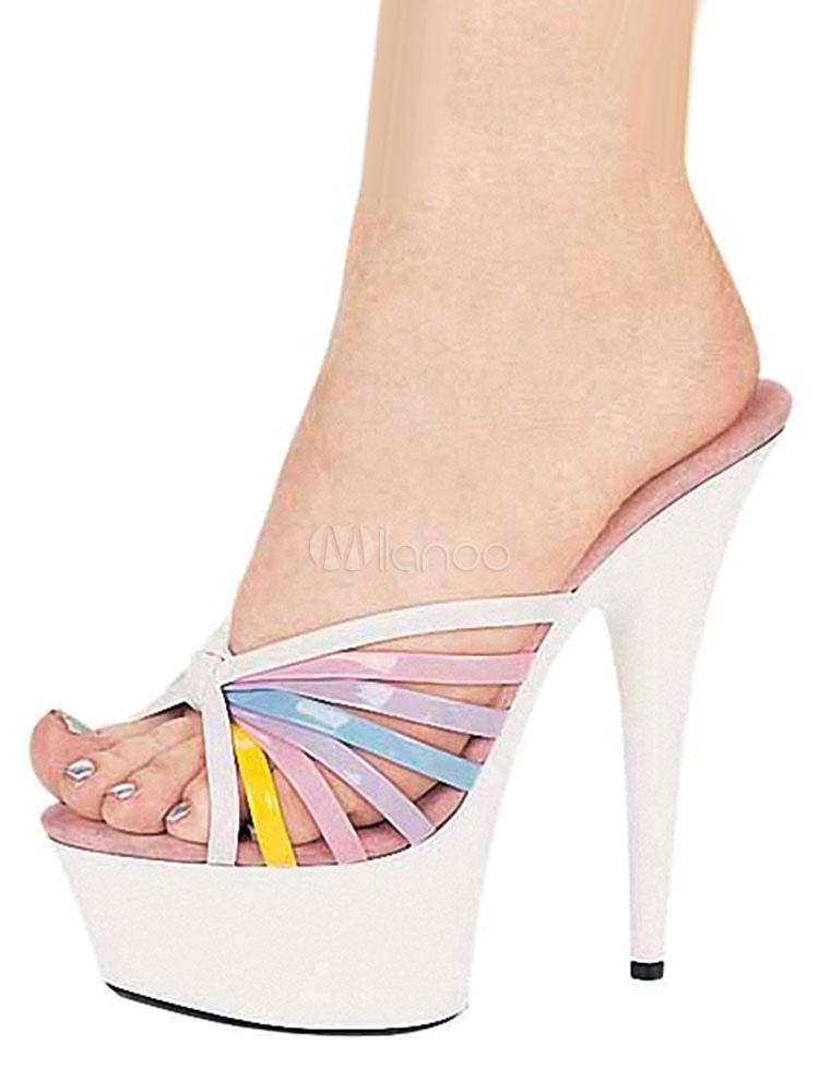 White Women's Mules High Heel Platform Open Toe Color Block Stiletto Slippers