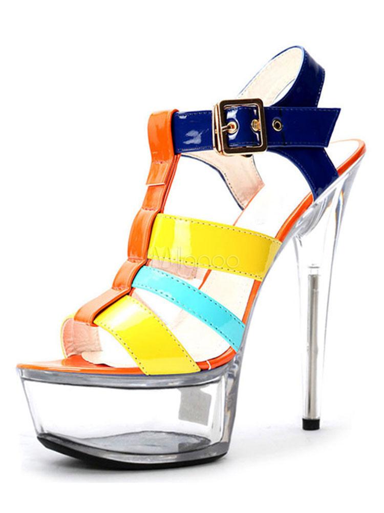 Buy Women's Sexy Sandals High Heel Platform Open Toe Color Block Stiletto Sandal Shoes for $79.99 in Milanoo store