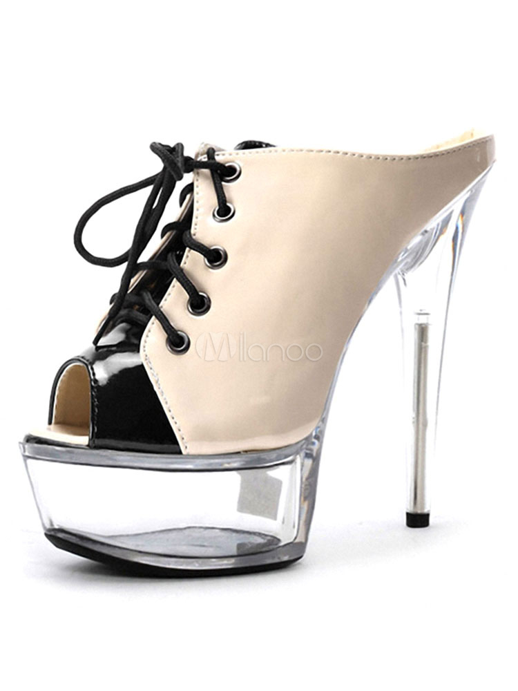 Buy Women's Sexy Sandals Platform Lace Up High Heel Peep Toe Stiletto Nude Mules for $74.99 in Milanoo store