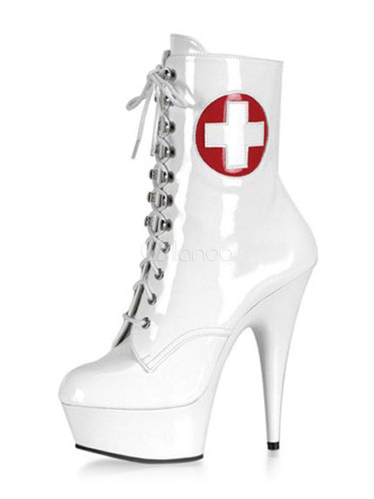 Botas con pala de laca brillante blancas con logotipo con cordones estilo moderno 4mkD7ce