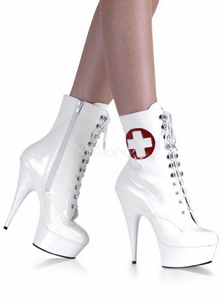 Botas con pala de laca brillante blancas con logotipo con cordones estilo moderno rasjjr2j7R