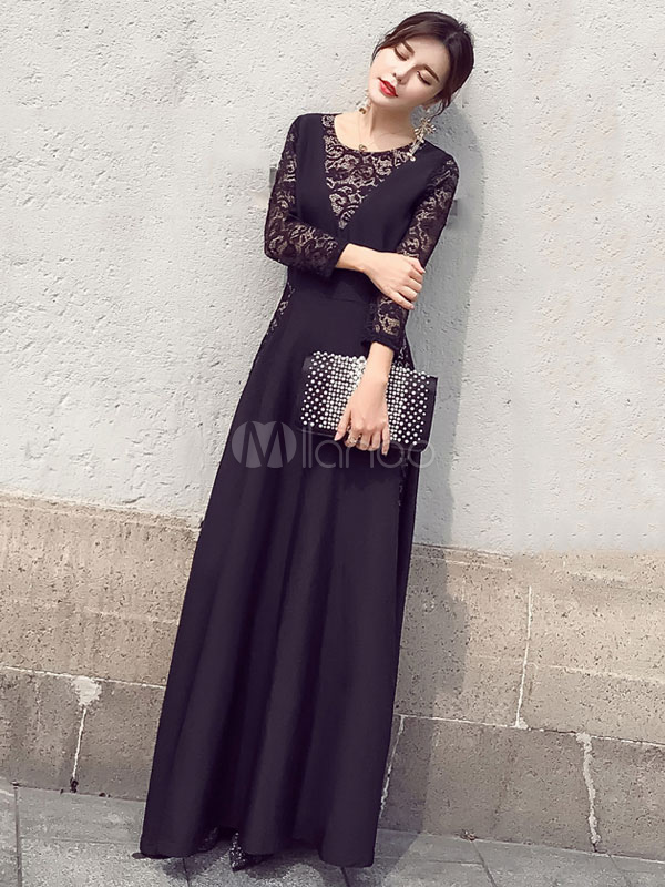 Buy Black Maxi Dress Lace Illusion Sleeve Round Neck Pleated Long Dress for $36.79 in Milanoo store