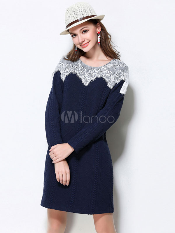 Knit Sweater Dress Lace Round Neck Long Sleeve Two Tone Blue Shift Dresses For Women Cheap clothes, free shipping worldwide