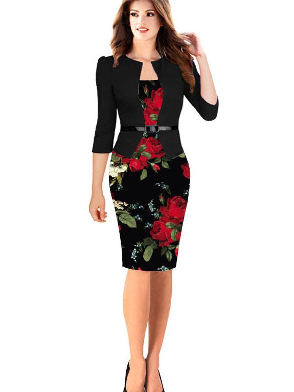 Women's Vintage Dress Floral Print Round Neck 3/4 Length Sleeve Black Sheath Dress With Belt