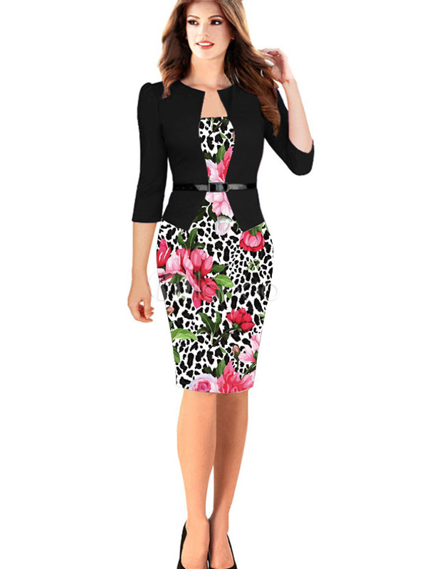Black Vintage Dress Fake Two Piece Style Floral Print 3/4 Length Sleeve Round Neck Sheath Dress With Belt