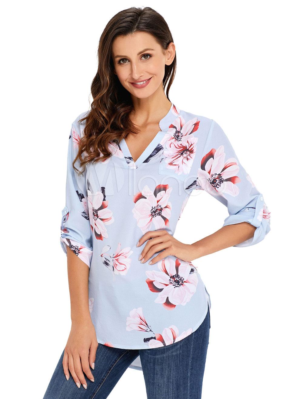 d3a07403 Women Floral Blouse V Neck High Low Adjustable Sleeve Light Blue Spring Top