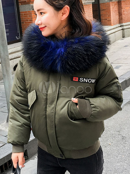 Women's Parka Jacket Faux Fur Hooded Long Sleeve Embroidered Hunter Green Winter Coat Cheap clothes, free shipping worldwide