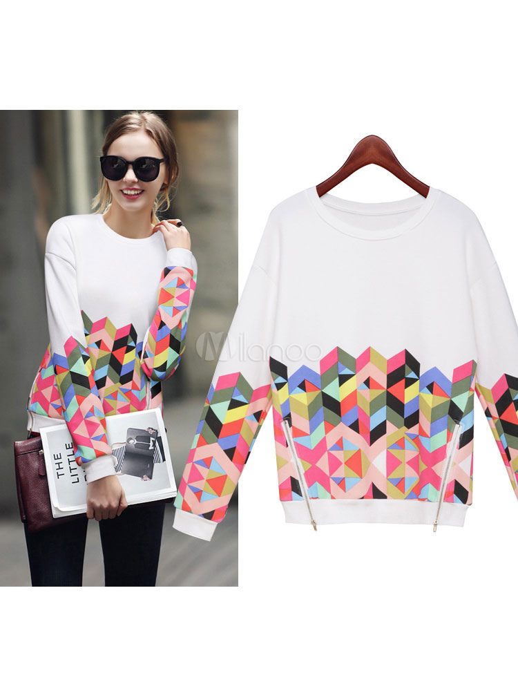 White Women's Sweatshirt Round Neck Long Sleeve Geometric Print Top