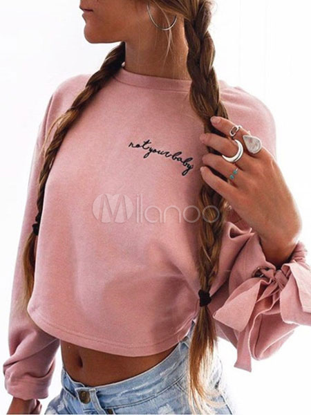 Pink Short Sweatshirt Round Neck Long Sleeve Knotted Letters Print Crop Top For Women