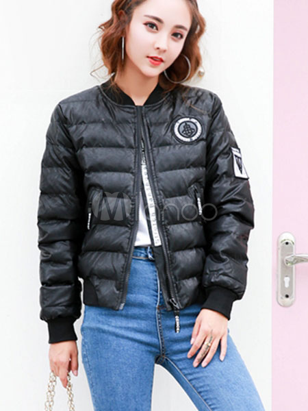 Black Quilted Jacket Stand Collar Long Sleeve Slim Fit Winter Padded Coat For Women Cheap clothes, free shipping worldwide