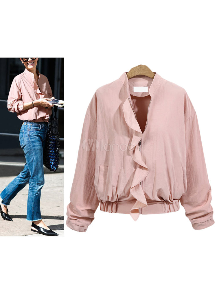 Buy Pink Bomber Jacket Round Neck Long Sleeve Ruffles Slim Fit Short Jackets For Women for $27.59 in Milanoo store