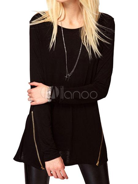 Black T Shirt Round Neck Long Sleeve Zipper Women's Top Cheap clothes, free shipping worldwide