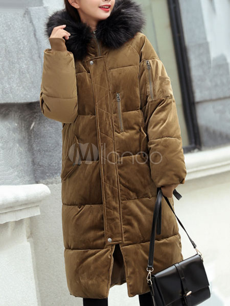 Women's Quilted Jacket Hooded Faux Fur Long Sleeve Velour Winter Hunter Green Padded Coat Cheap clothes, free shipping worldwide