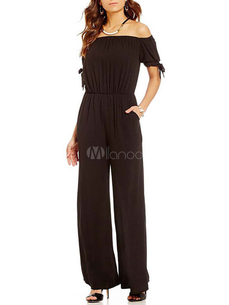 Black Women's Jumpsuit Off The Shoulder Short Sleeve Knotted Sexy Long Wide Leg Jumpsuits