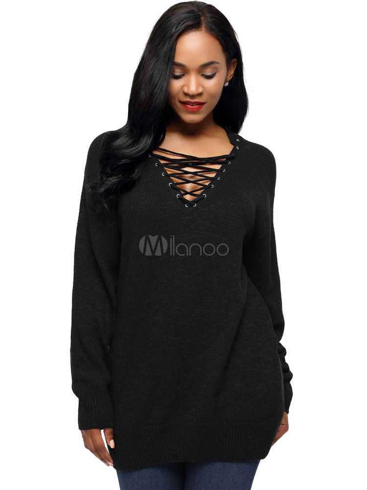 Black Sweater Women V Neck Long Sleeve Criss Cross Knit Top