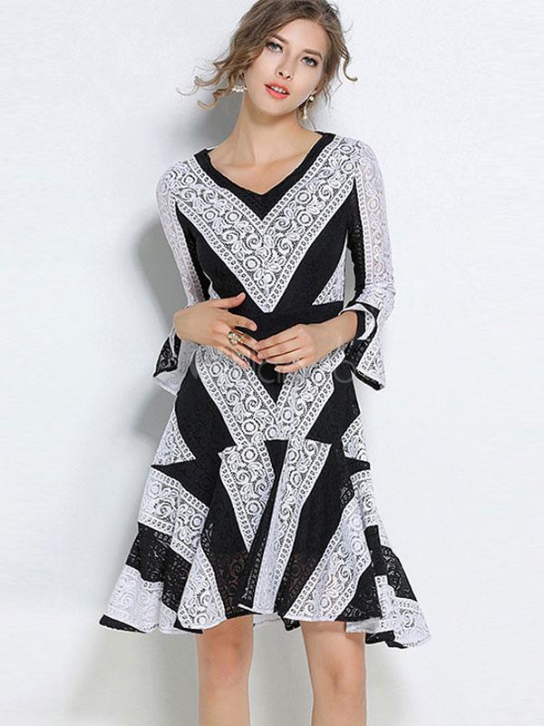 White Party Dress V Neck Bell Sleeve Two Tone Skater Dresses For Women
