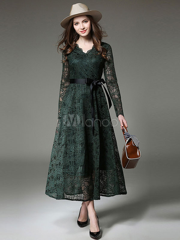 Buy Green Maxi Dress V Neck Long Sleeve Shaping Lace Dresses For Women for $33.29 in Milanoo store