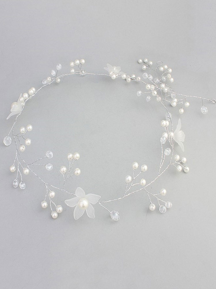 White Wedding Headband Crystal Pearls Headpieces Bridal Hair Accessories