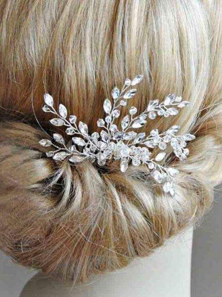 Buy Wedding Gold Comb Crystal Rhinestones Headpieces Transparent Bridal Hair Accessories for $23.39 in Milanoo store
