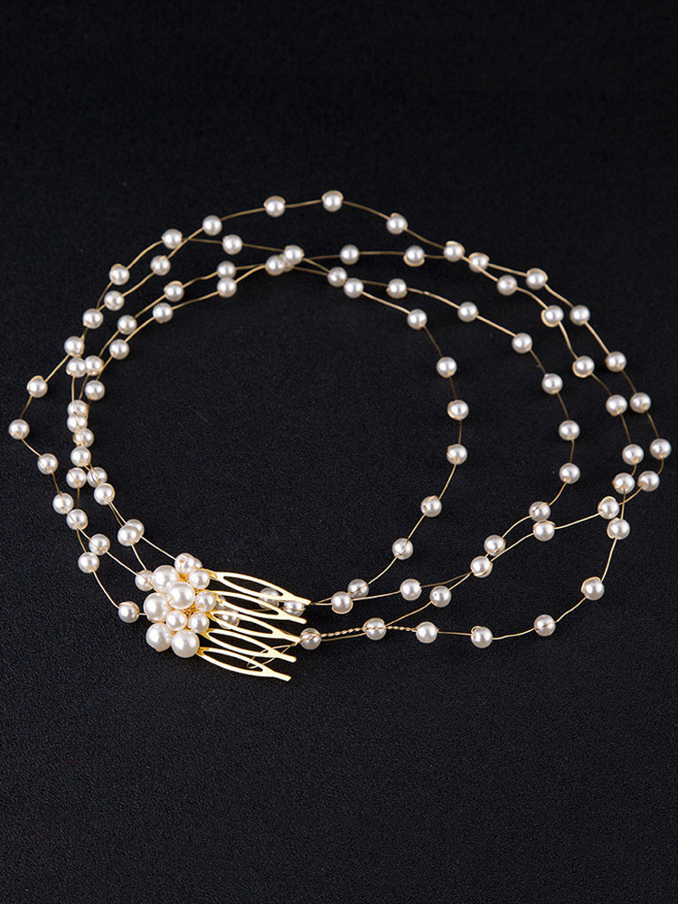 Buy Gold Wedding Headpieces Comb Pearls Bridal Hair Accessories for $6.29 in Milanoo store