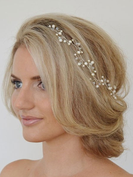 Buy White Wedding Headpieces Headband Imitation Pearls Crystal Bridal Hair Accessories for $8.99 in Milanoo store