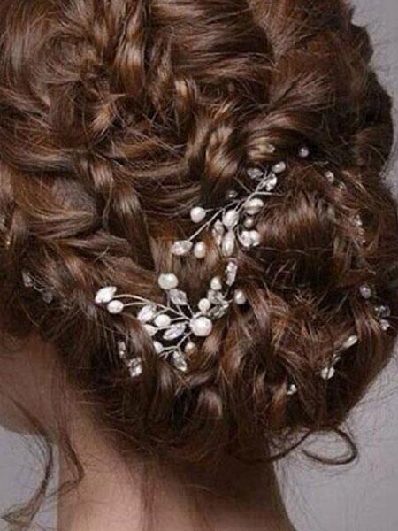 Wedding Hairpin Headpieces Pearls Rhinestones Transparent Bridal Hair Accessories 2 Pcs
