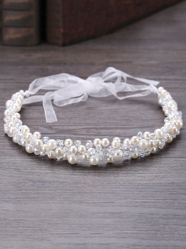 Buy White Wedding Headband Pearls Headpieces Crystal Ribbons Bridal Hair Headpieces for $9.89 in Milanoo store