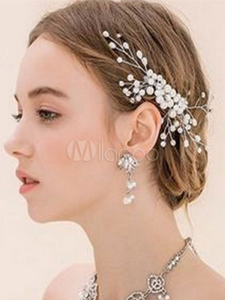 Buy Crystal Wedding Headpieces Transparent Pearls Bridal Hair Accessories for $7.19 in Milanoo store