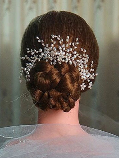 Wedding Pearls Hairpin Ivory Alloy Hair Comb Bridal Headpieces