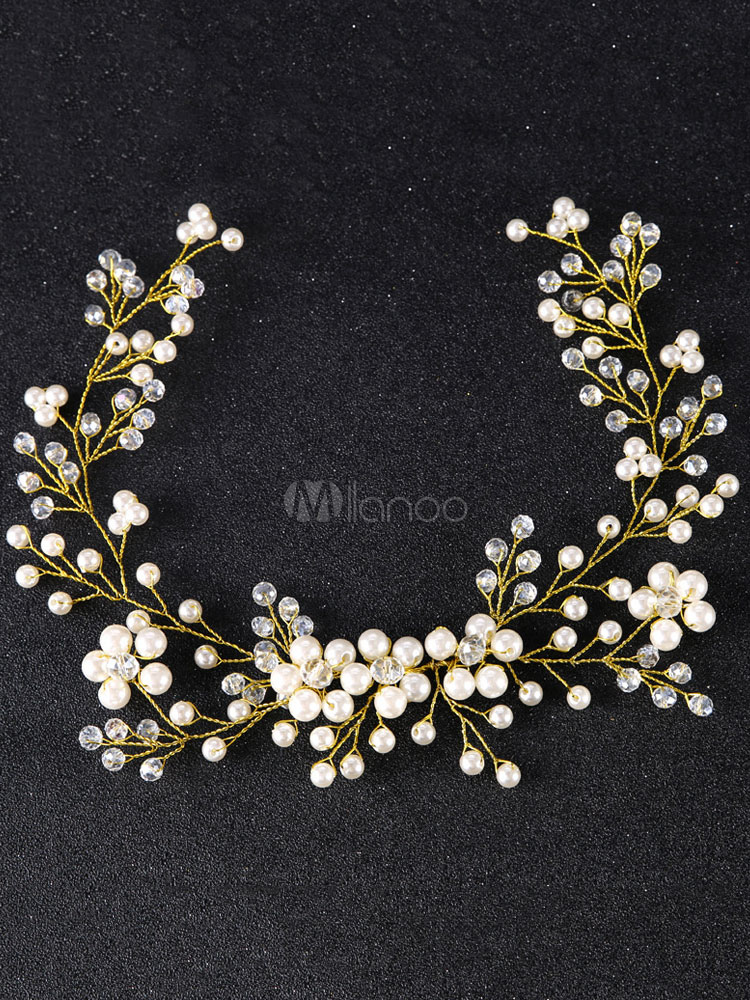 Buy Wedding Crystal Headband Gold Headpieces Imitation Pearls Bridal Hair Accessories for $13.49 in Milanoo store
