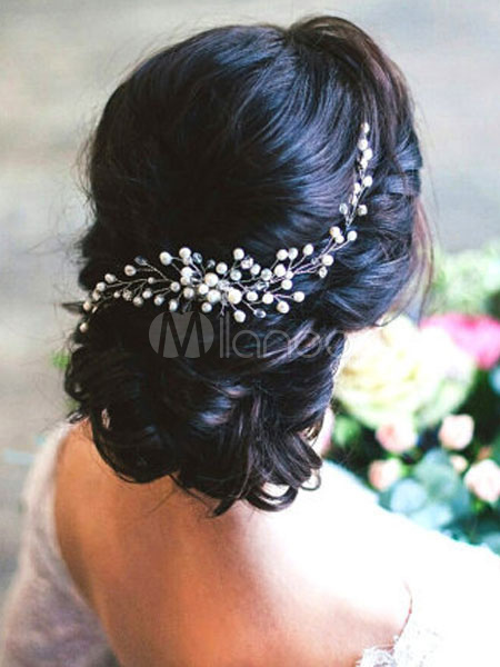 Buy Wedding Crystal Headpieces Comb Imitation Pearls Transparent Bridal Hair Accessories for $6.39 in Milanoo store