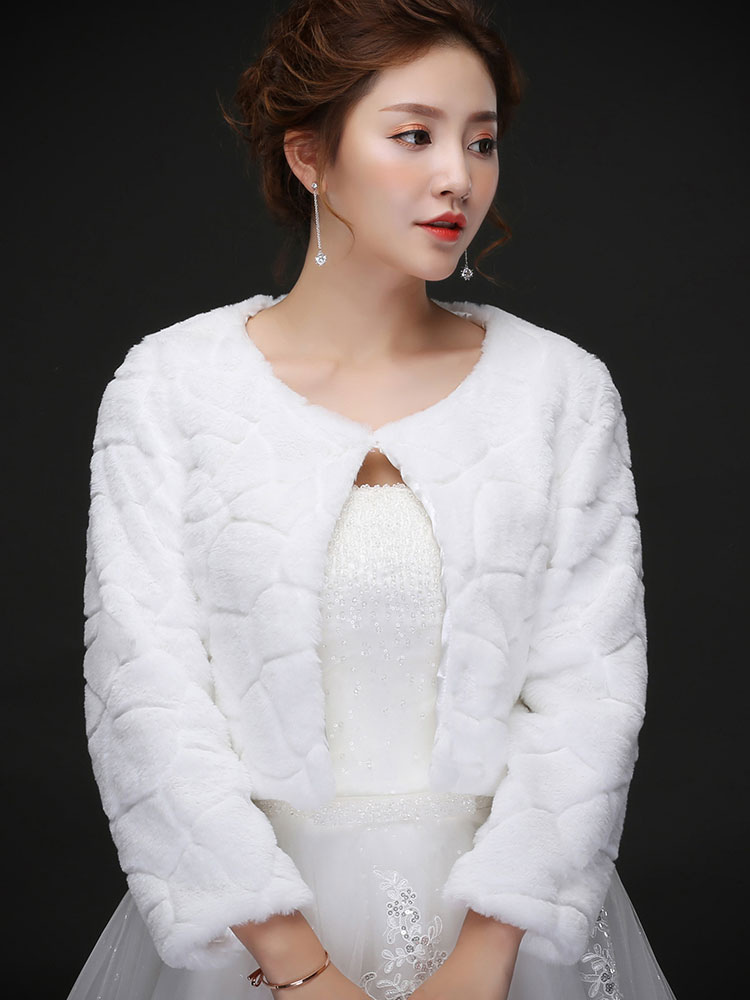 Wedding Jacket Bolero Faux Fur Crewneck Long Sleeve Ivory Bridal Tops