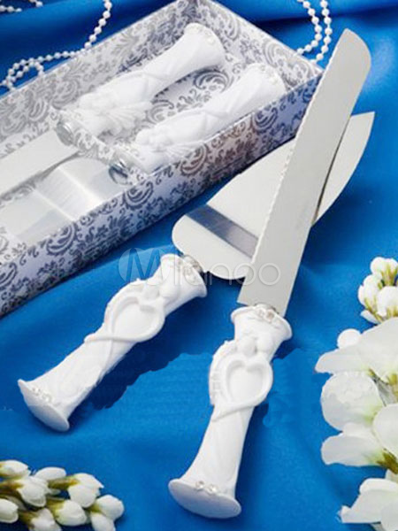Wedding Cake Knife Classic Bride And Groom Silver Resin Cake Serving Set