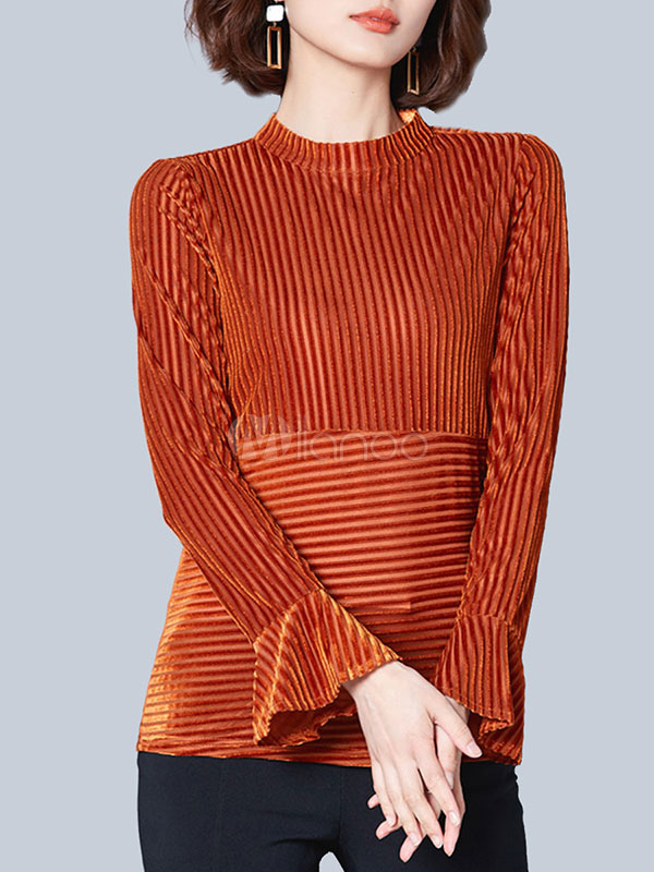 Buy Orange Red Blouses Round Neck Bell Sleeve Velour Women's Top for $18.39 in Milanoo store