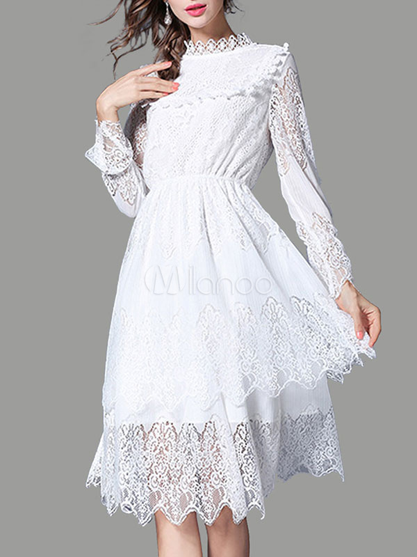 Buy White Lace Dress Stand Collar Long Sleeve Layered Ruffles Pleated Skater Dress for $44.99 in Milanoo store