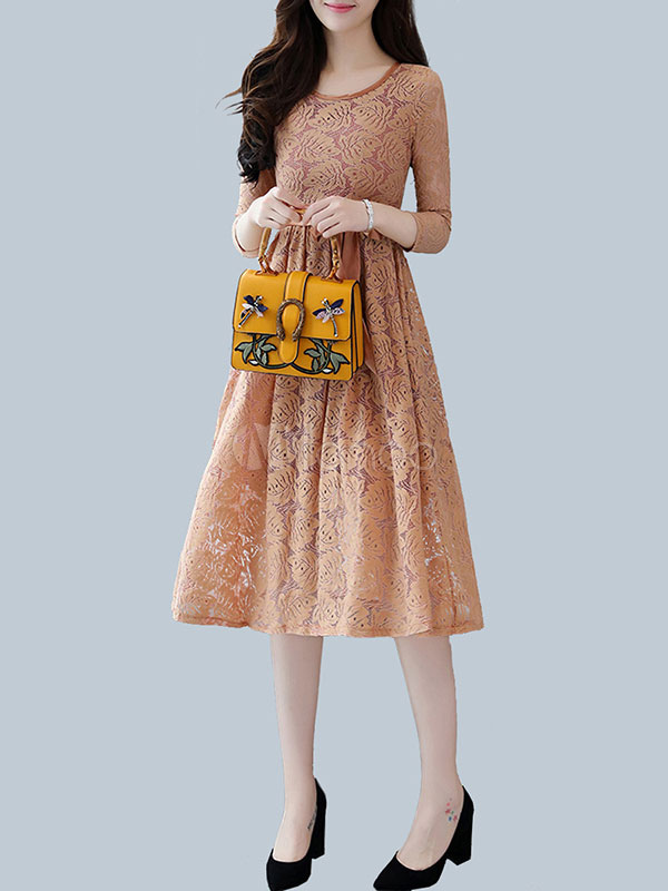 Buy Women's Lace Dress Round Neck 3/4 Length Sleeve Pleated Light Brown Flare Dress With Ribbon Sash for $28.89 in Milanoo store