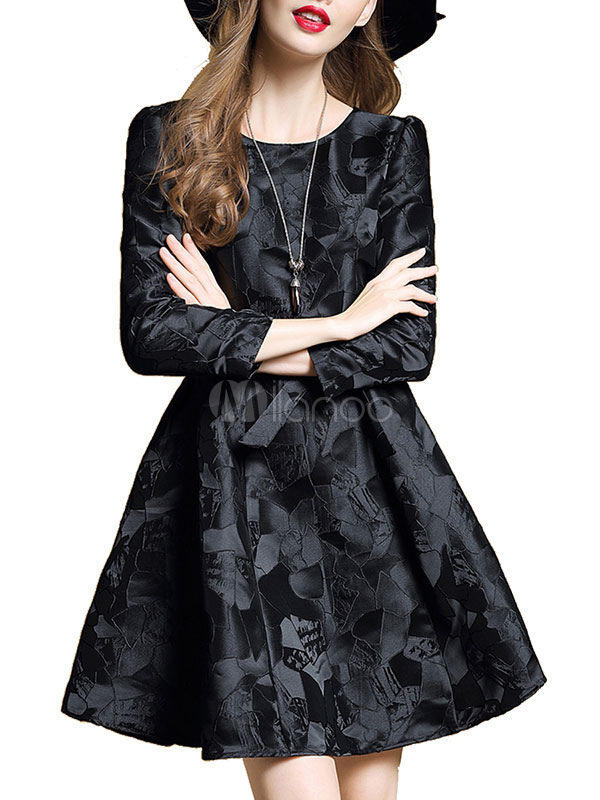Buy Black Skater Dress Jacquard Round Neck 3/4 Length Sleeve Pleated Waist Tie Flare Dress for $32.19 in Milanoo store