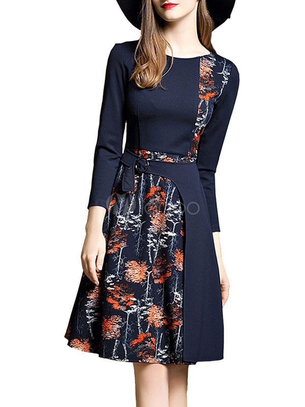 Buy Women's Skater Dress Floral Print Fake Two Piece Style Round Neck Long Sleeve Pleated Deep Blue Flare Dress for $32.19 in Milanoo store