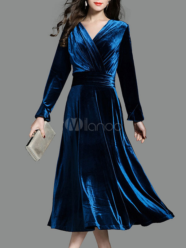 Buy Velour Long Dress V Neck Long Sleeve Ruched Pleated Deep Blue Elegant Dress for $44.99 in Milanoo store