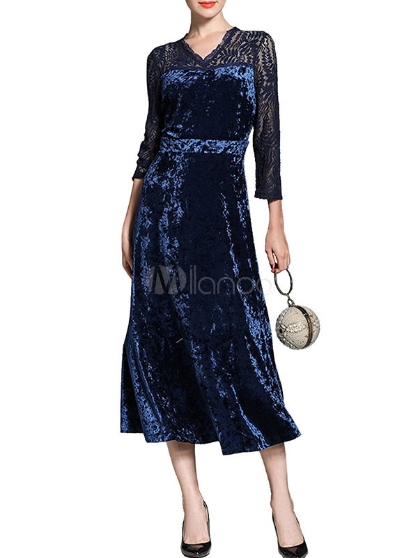 Buy Blue Velour Dress Lace Patch V Neck Long Sleeve Pleated Elegant Long Dress for $36.79 in Milanoo store