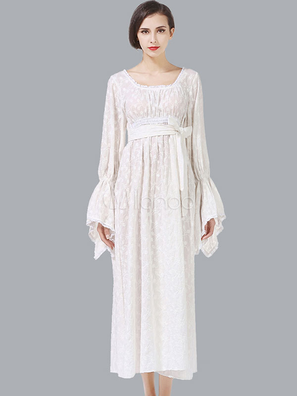 Buy White Long Dress Lace Patch U Neck Long Sleeve Irregular Design Pleated Cotton Dress With Sash for $44.99 in Milanoo store