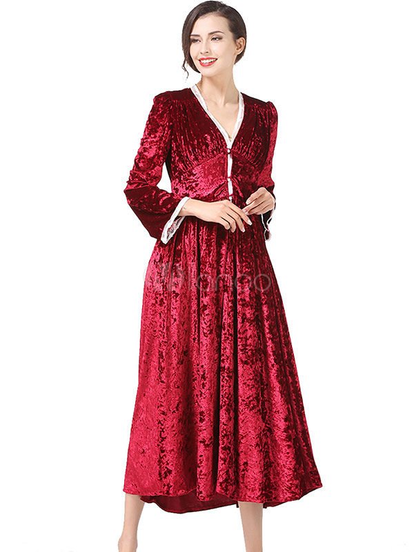 Red Velour Dress Lace Patch V Neck Long Sleeve Pleated Women's Luxurious Long Dress