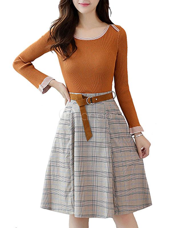 Buy Elegant Skirt Set Light Brown Scoop Neck Long Sleeve Top With Pleated Midi Skirt for $32.19 in Milanoo store