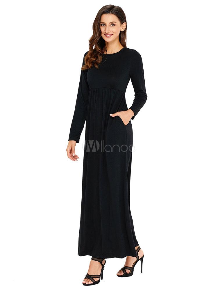 9078accbf ... Vestidos largos de manga larga para mujer de cuello redondo negro-No.3  ...